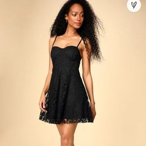 LULU'S - NWT So Into You Black Crochet Lace Bustier Skater Dress